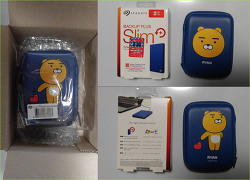 씨게이트 Backup Plus Slim 2TB 2.5인치 외장하드, 그리고 카카오프렌즈 정품 파우치 (라이언) 구매 개봉