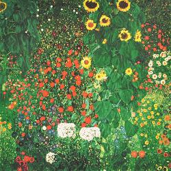 Garden with sunflowers *33cm x 33cm 사후판화(Ed. 489/500) *액자없음* - 구스타프 클림트