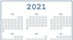 2021년 새해 습관 만들기를 위한 버블 캘린더