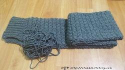 드디어 완성된 자라무늬 뜨개질 목도리