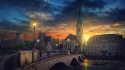 포토샵 강좌 도시 일몰 (Photoshop Tutorial Sunset City)