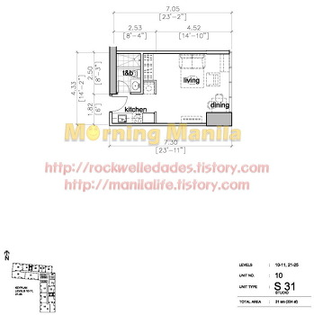 Manila Makati Condo For Sale Rockwell Edades Tower And Garden Villas Unit Layout No.10 Studio 31 SQM
