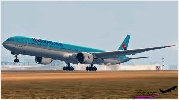 대한항공 B777-300ER at 제주공항 랜딩
