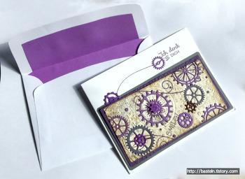 톱날 바퀴 문양으로 만든 카드랑 봉투