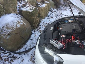 겨울철 자주 방전되는 자동차 배터리 재생 시도기 (골프 + AGM 배터리 + 노코 지니어스 + G7200 + 배터리 재생 + 파워뱅크 + 인버터)