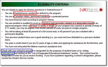 캐나다 학자금대출 SK주 Students Loan 신청자격 확인 방법