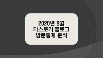 티스토리 블로그 2020년 8월 방문통계 분석