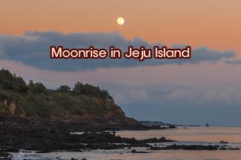 제주 겨울 바다, 해가 지고 달이 떠오른다.