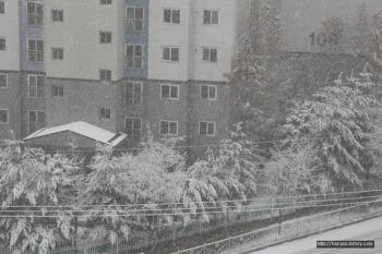 2018년 겨울 눈 오는 날 아파트 풍경사진