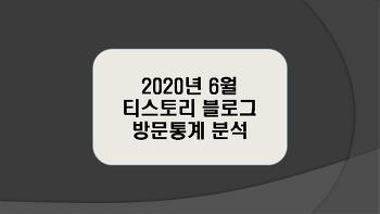 티스토리 블로그 2020년 6월 방문통계 분석