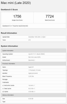애플 M1 긱벤치5 결과. (Apple M1, Geekbench5) (20.11.21. update)
