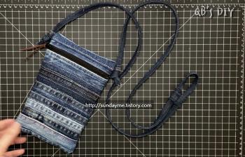 업사이클링- 안 입는 청바지 솔기로 작은 가방 만들기