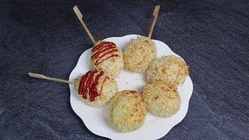 에어프라이어 간식 밥도그 찬밥으로 만든 핫도그