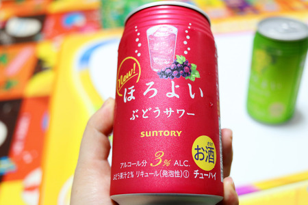일본술 츄하이 산토리 호로요이 포도맛(부도사와/시로부도)