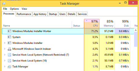 윈도우10 Windows Modules Installer Worker 사용 안함