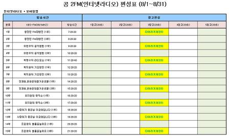 다아라 기계장터 -  KBS 인터넷라디오 8개채널 추가 안내