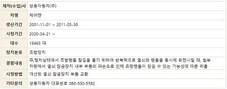 체어맨 열쇠 잠금장치 관련 리콜 2001-11-01 ~ 2011-05-30