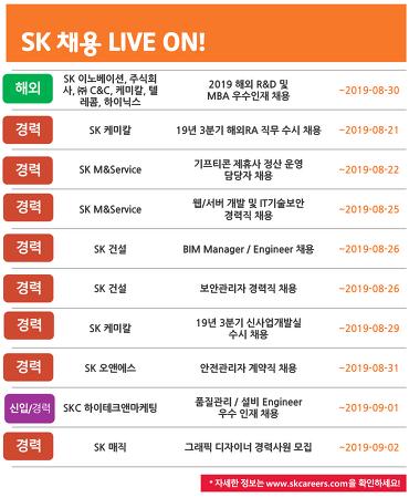 SK그룹 8월 4주차 채용 소식
