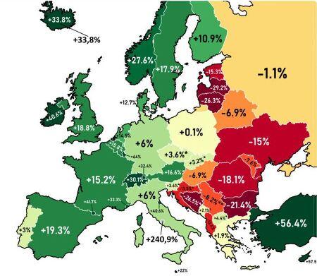 최근 30년 동안 유럽 국가별 인구는 얼마나 변화했을까