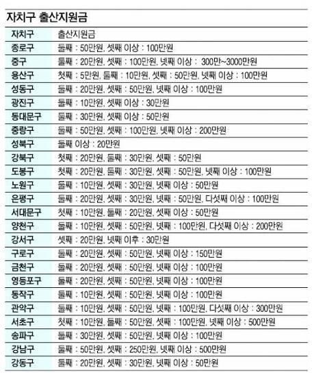 [정부지원] 서울특별시 자치구 출산지원금 안내