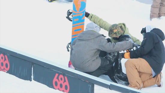 world snowboard day SHRED and SWAG rail jam video by loopers