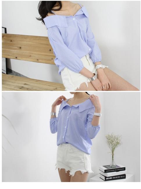 봄신상~♡ 오프숄더 끈 셔츠