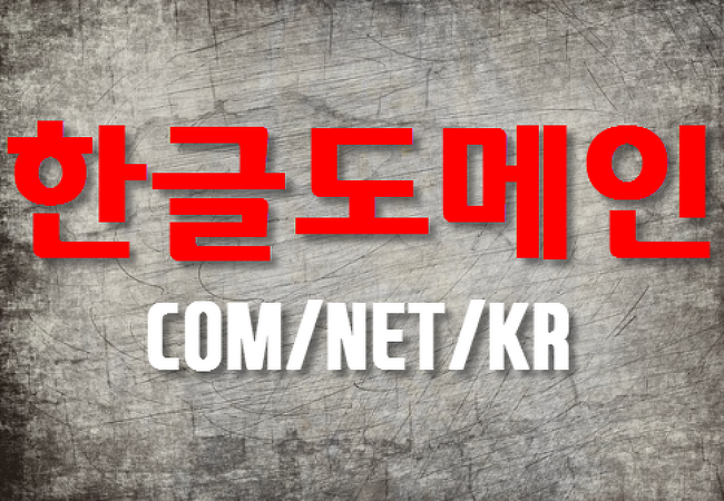 COM/NET/KR 인기도메인, 한글도메인