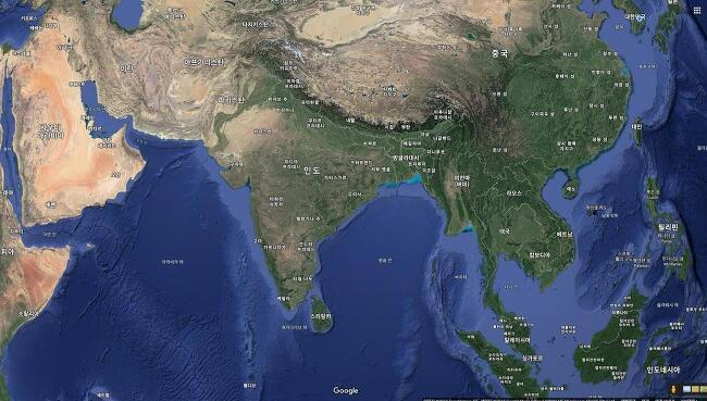 남아시아 지도 자세히 살펴보기 (네팔 몰디브 방글라데시 부탄 스리랑카 아프가니스탄 인도 파키스탄 수도 구글맵 일반지도 위성도 지형도 행정구역 인구 주요 강)