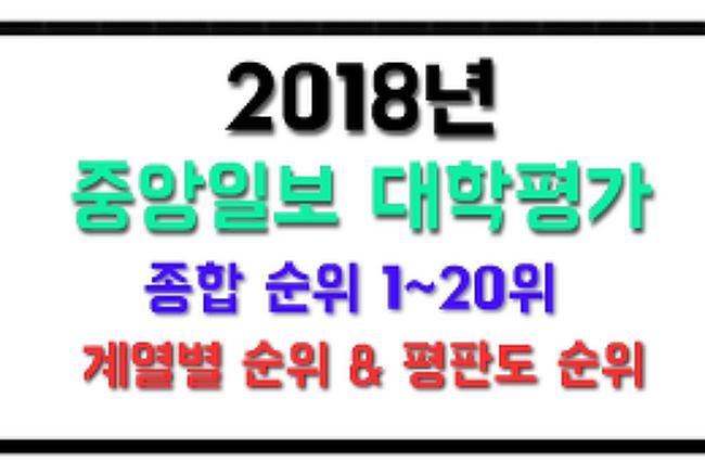 →  2018년 중앙일보 대학평가 종합순위 & 계열 순위, 평판도 등
