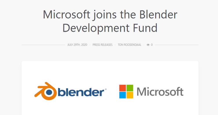 Microsoft가 \ Blender Development Fund에 합류했습니다.