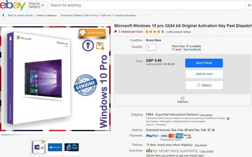 ebay 에서 윈도우10 key 를 구매해보았습니다.