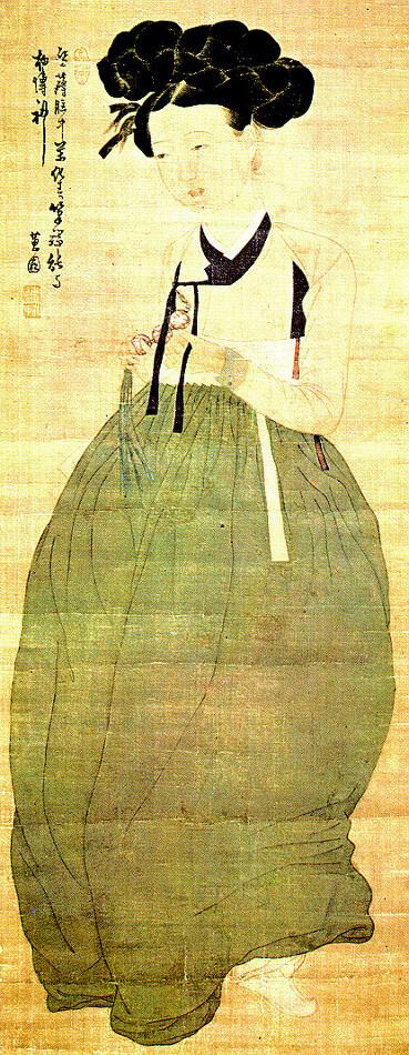 Shin YunBok, [Portrait of a Beauty/ MeinDo 미인도 美人圖]