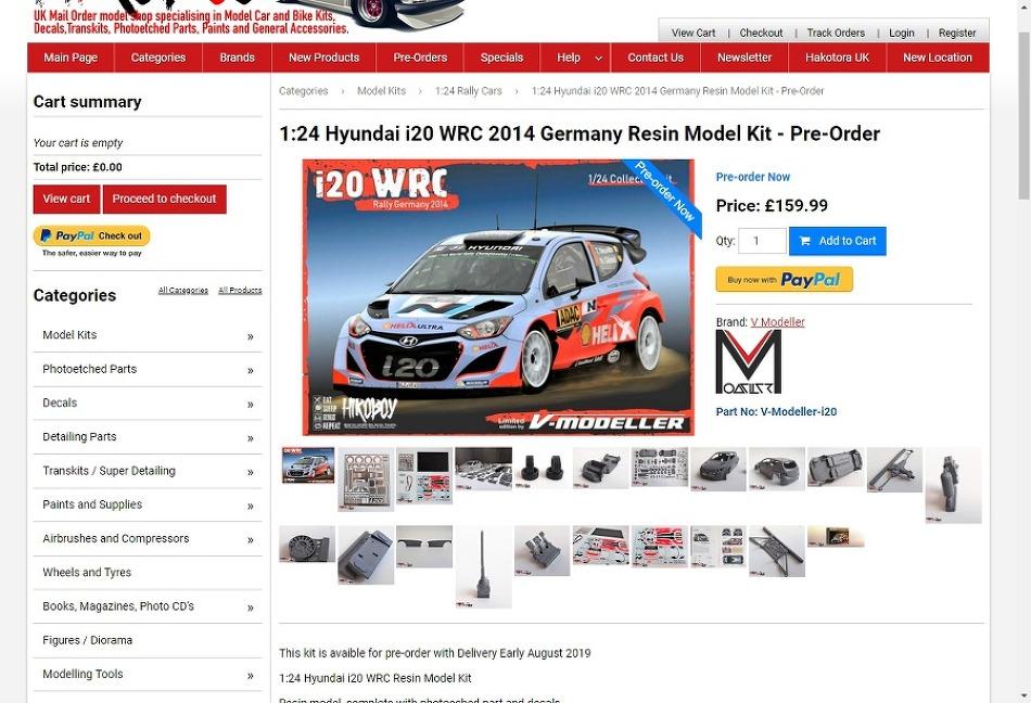 1:24 Hyundai i20 WRC 2014 Germany Resin..